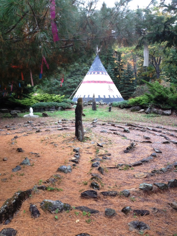 Teepee and labyrinth at Grail Springs